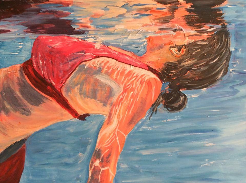 Im Pool  60 x 80 cm, Acryl