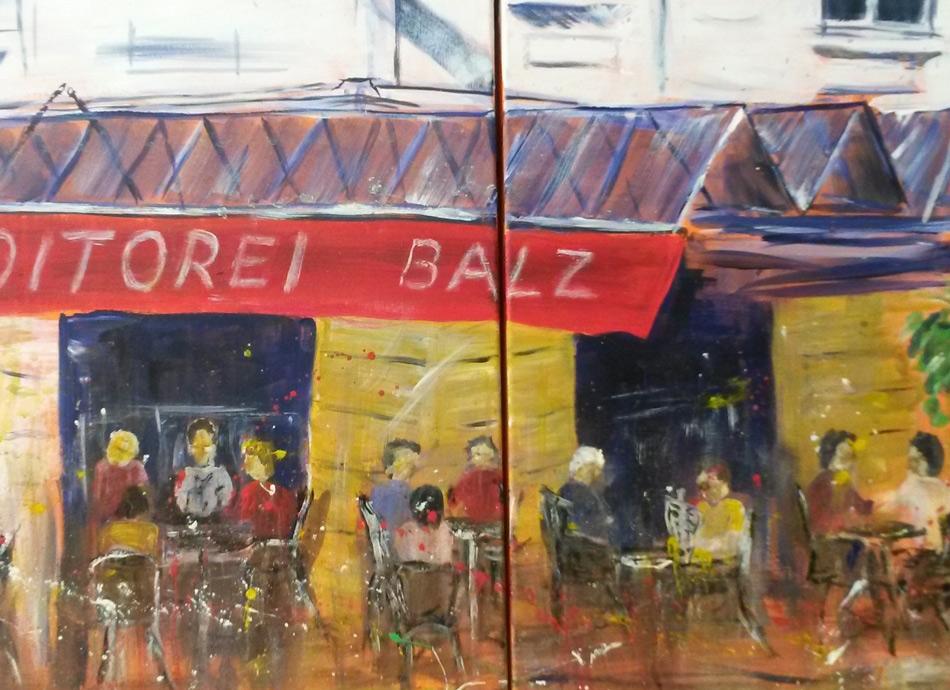 Cafe Balz  100 x 50 cm, Acryl