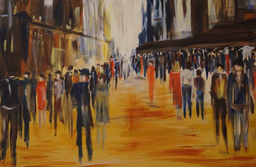 Stadtmenschen 2 100 x 80 cm, Acryl