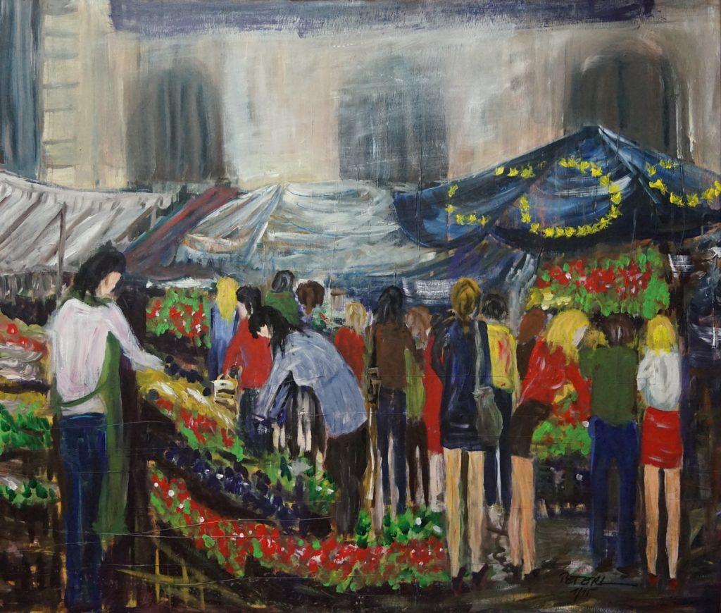 Markt in Korneuburg  100 x 100 cm, Acryl