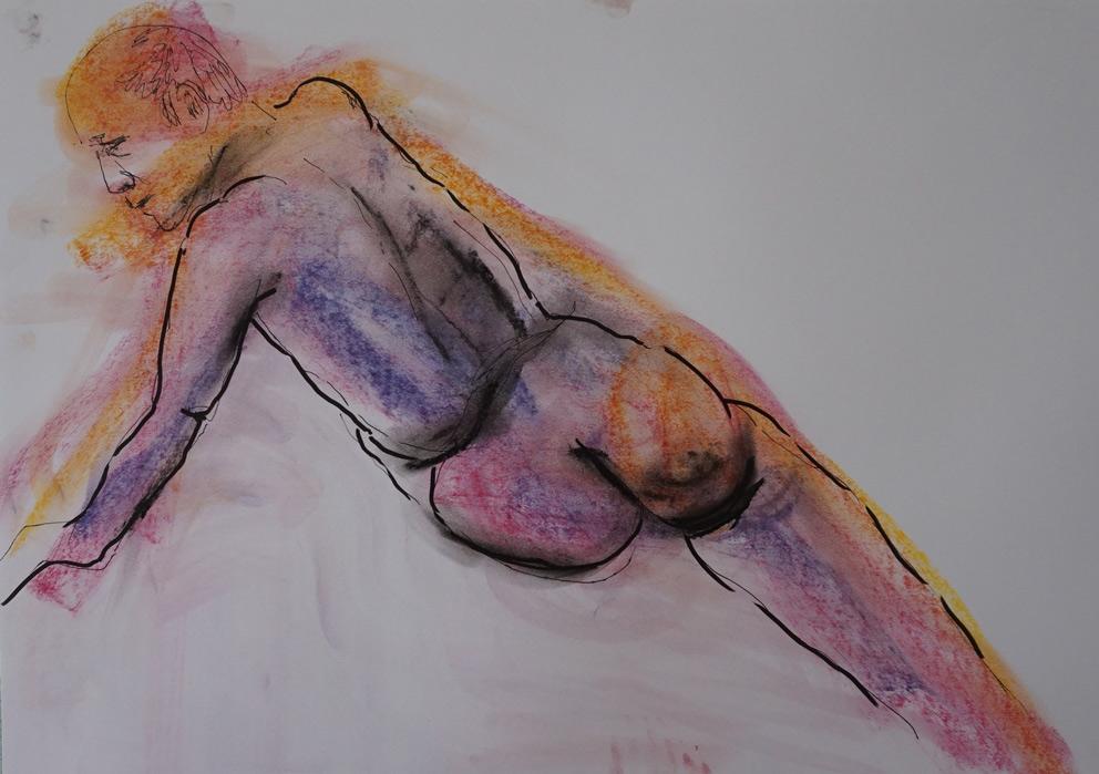Aktskizze  50 x 70 cm, Acryl