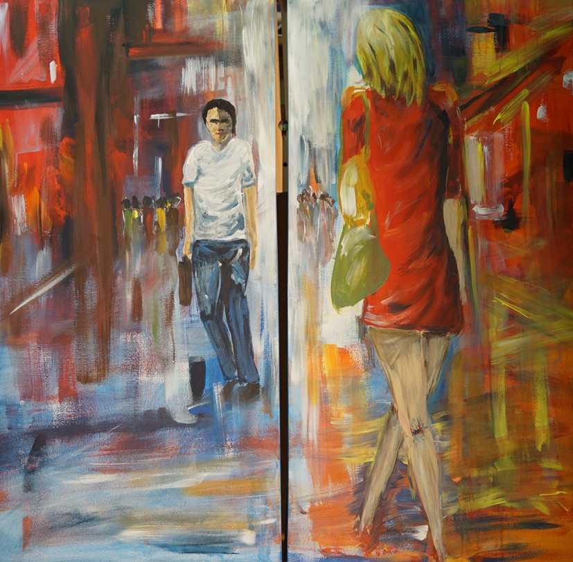 Begegnung Diptychon,100 x 100 cm, Acryl
