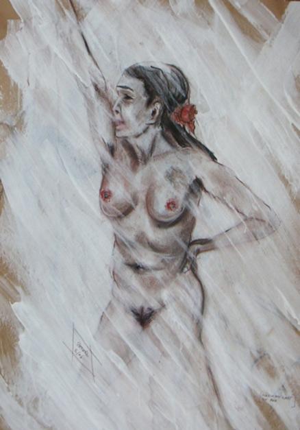 Flamenco  50 x 70 cm, Acryl
