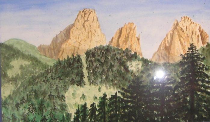 Frühstueck in den Dolomiten  200 x 200 cm, Acryl
