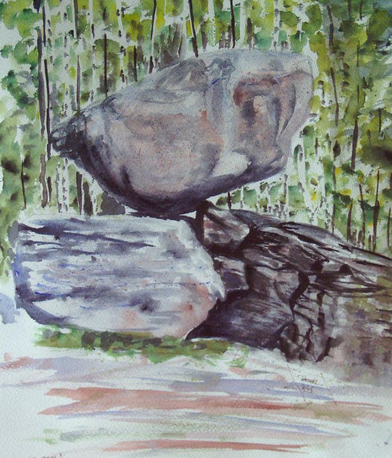 Hängender Stein 100 x 100 cm, Acryl
