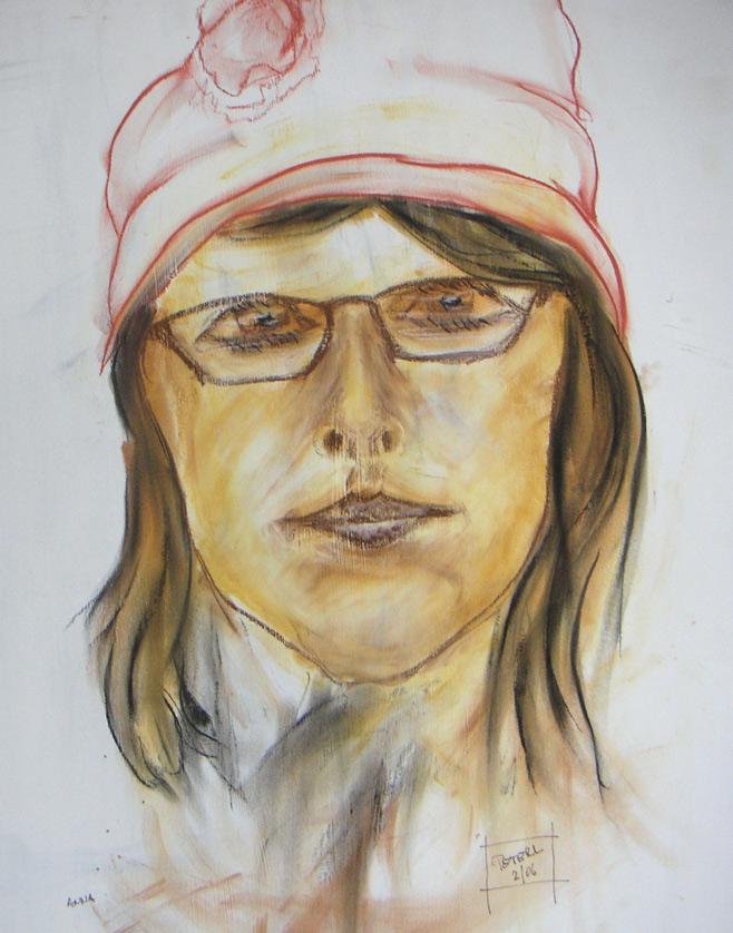 Portrait Anna  100 x 100 cm, Acryl