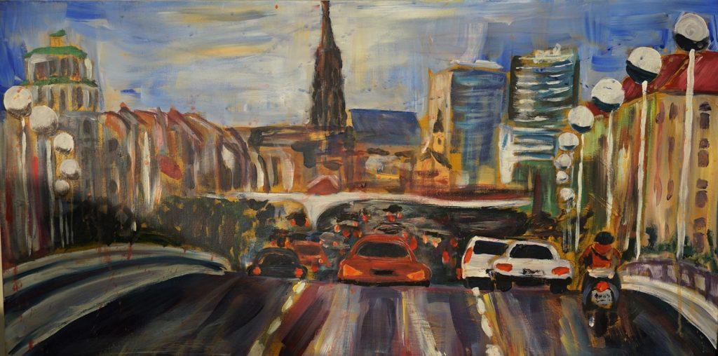 Reichsbrücke  100 x 100 cm, Acryl