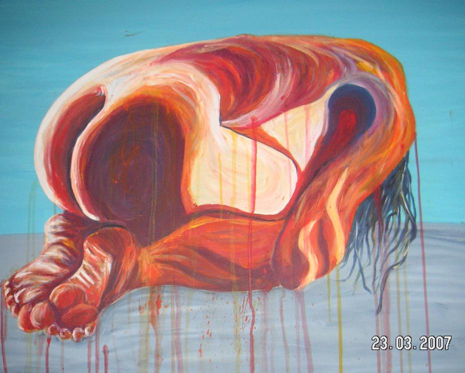 Schmerz  100 x 100 cm, Acryl