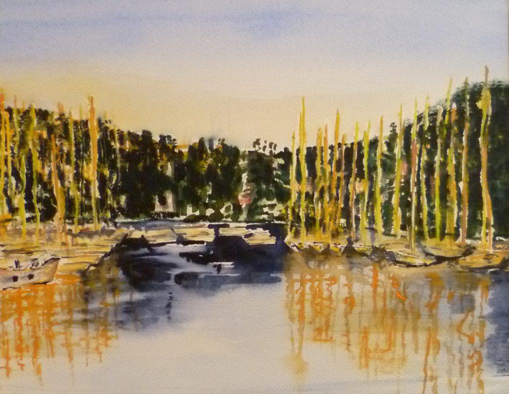 Sonnenuntergang in Viz 100 x 100 cm, Acryl