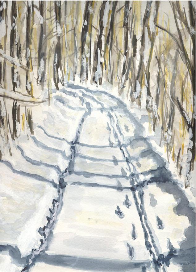 Spuren im Schnee  100 x 100 cm, Acryl
