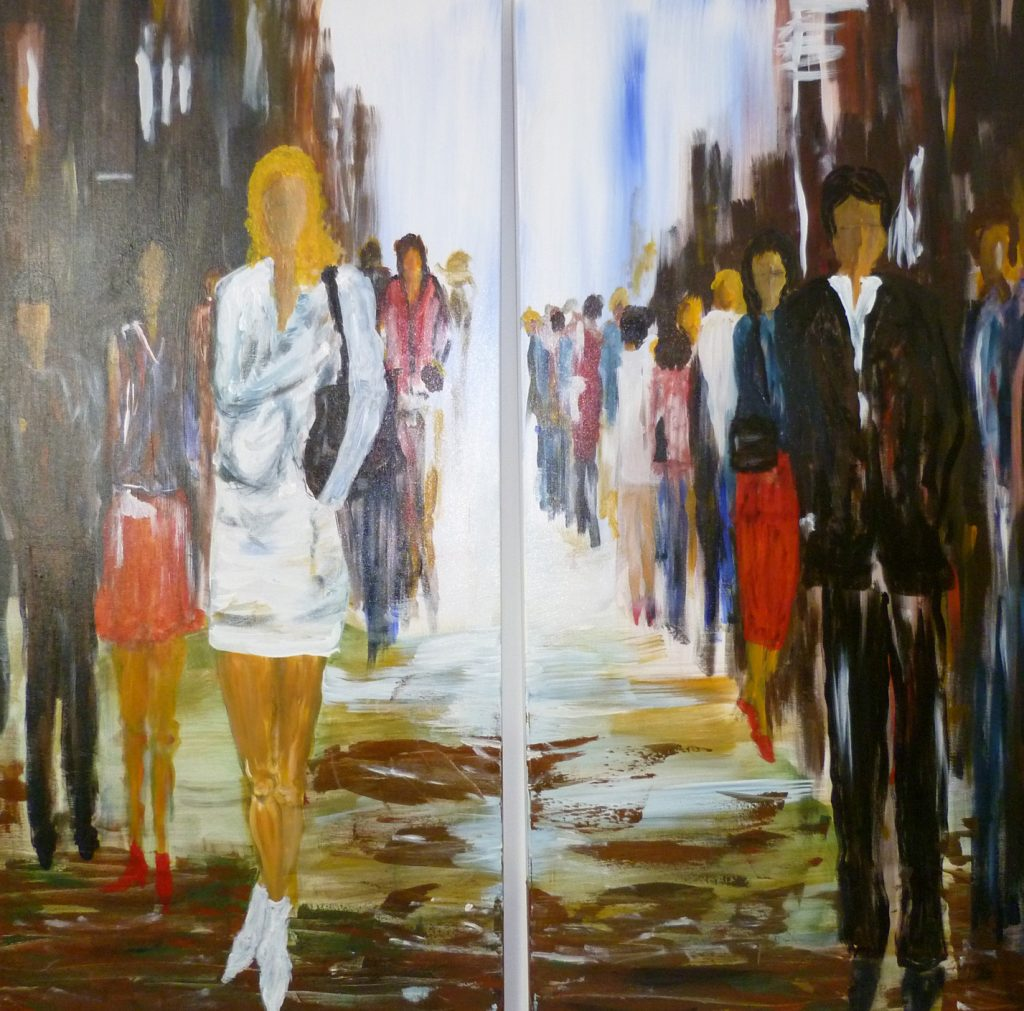 Stadtmenschen 1  100 x 100 cm, Acryl