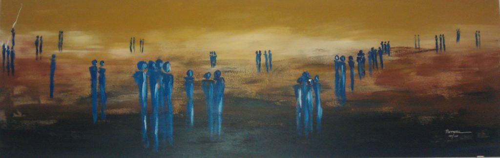 Menschenlandschaft  100 x 40 cm, Acryl