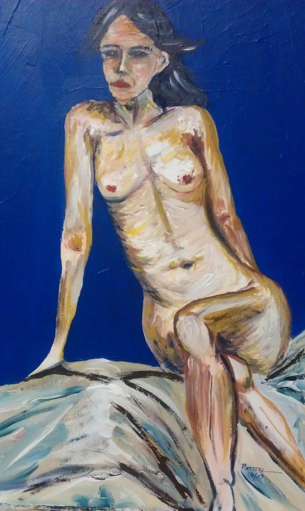 Akt in Blau  50 x 70 cm, Acryl