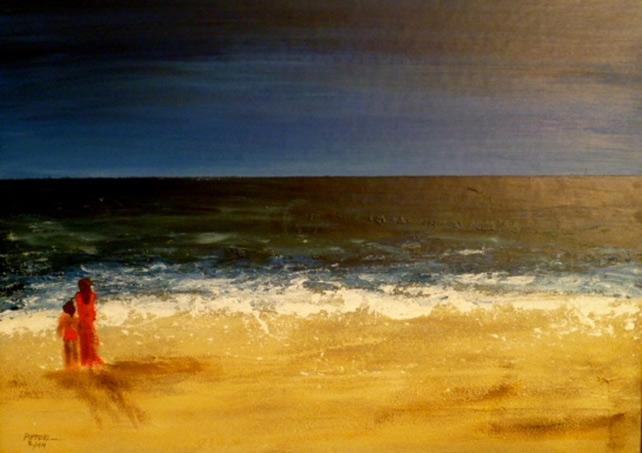 Am Strand  80 x 60 cm, Acryl