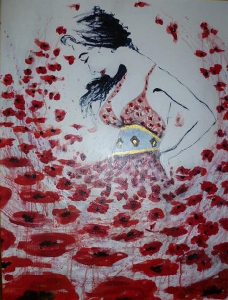 Blumenmädchen  60 x 80 cm, Acryl