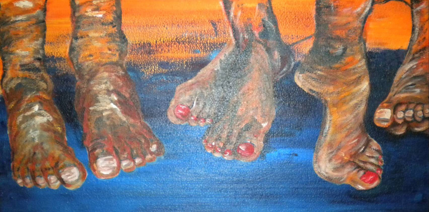 Zeigt her eure Füße 100 x 100 cm, Acryl