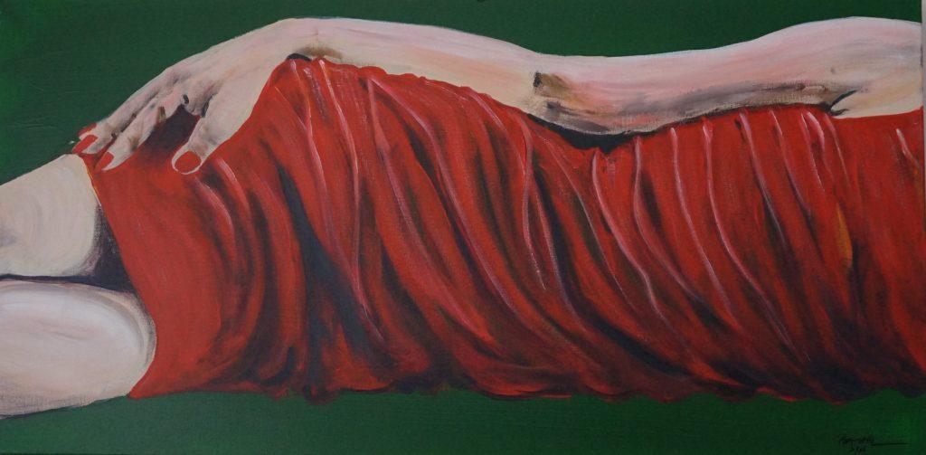 Das kleine Rote…  100 x 100 cm, Acryl