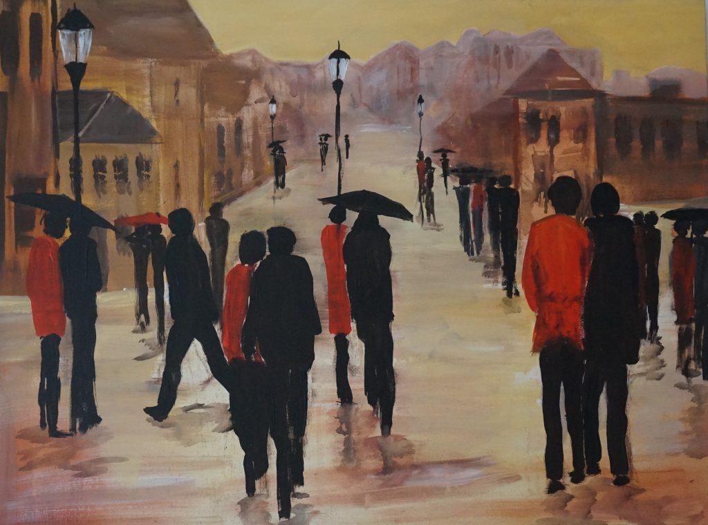 Stadtmenschen 3 60 x 80 cm, Acryl