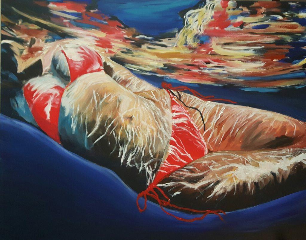 Roter Bikini 100 x 80 cm, Acryl