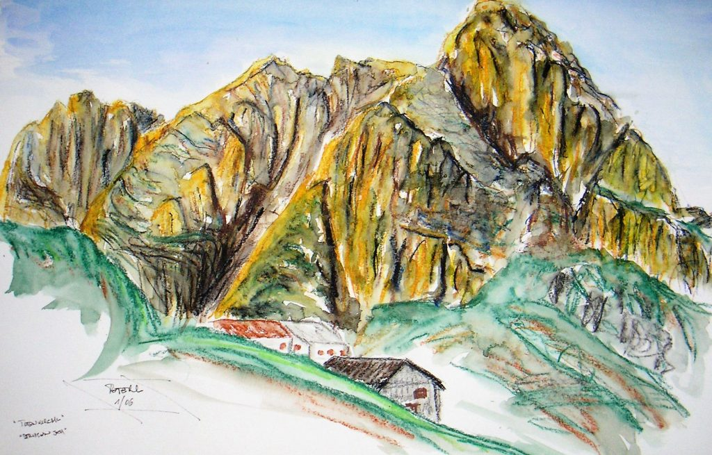 Wilder Kaiser, Totenkirchl 70 x 50 cm, Pastellkreide