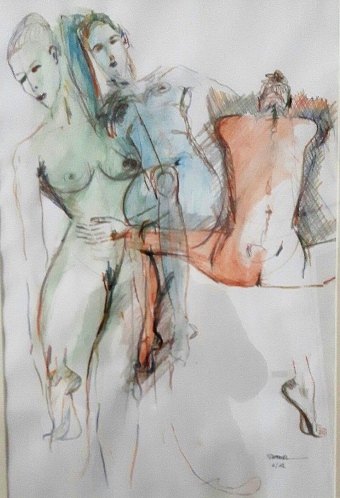 Bewegung,Skizze  50 x 70 cm, Kreide