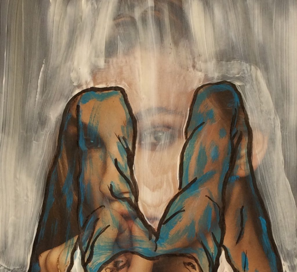 Übermalung,Gedankenspiel  50 x 60 cm, Mischtechnik, 2017