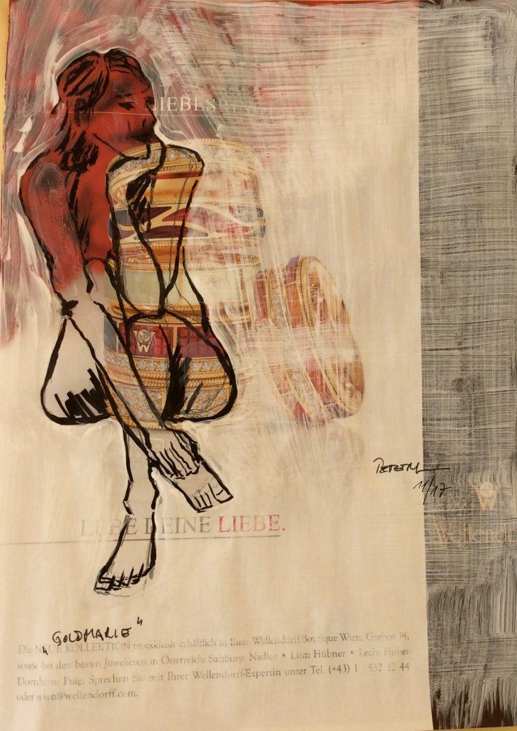 Übermalung, Goldmarie  50 x 60 cm, Mischtechnik, 2017