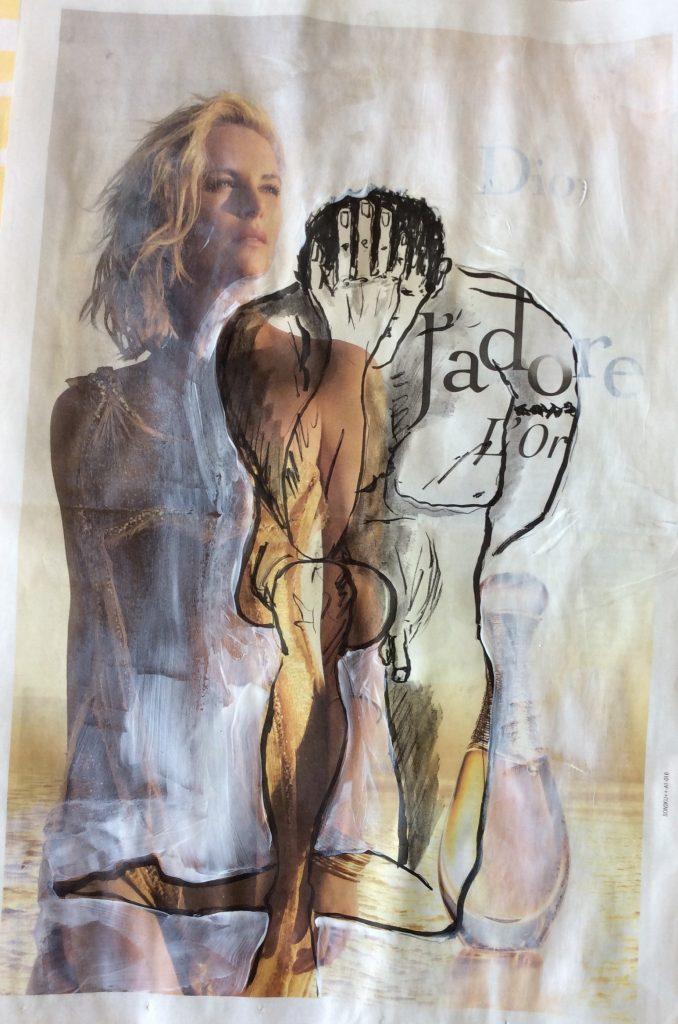 Übermalung,Gedankenspiel 2  50 x 60 cm,Mischtechnik, 2017