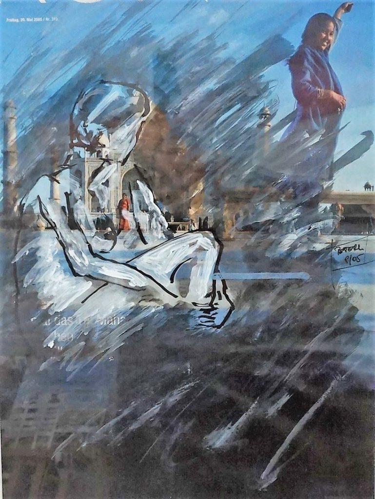Übermalung,Spirituelles Indien 50 x 60 cm, Mischtechnik, 2007