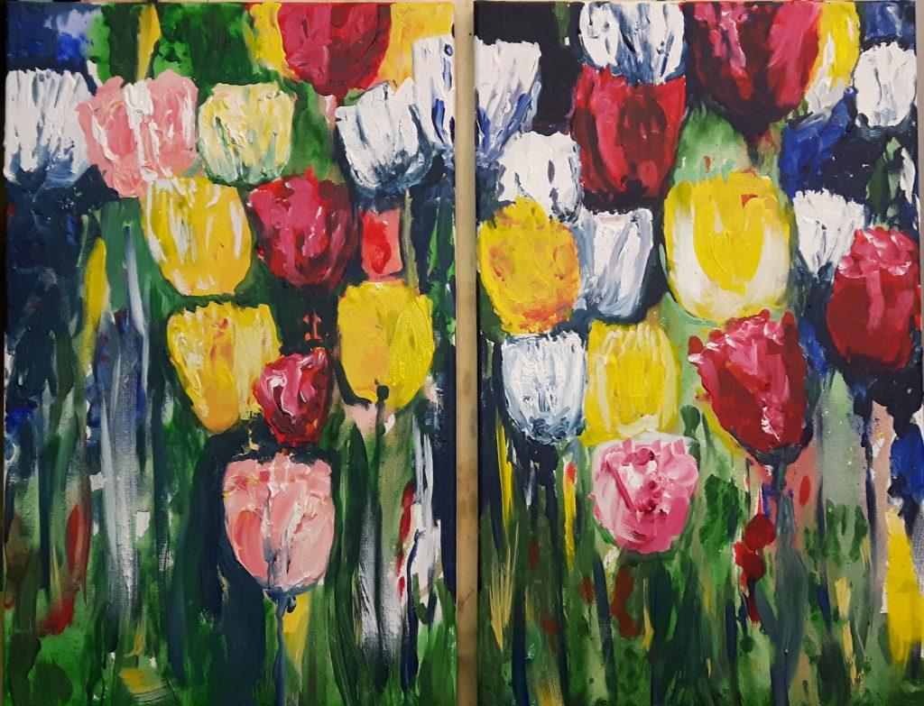 Nur Frühling 2×30 x 60 cm, Acryl, 2017