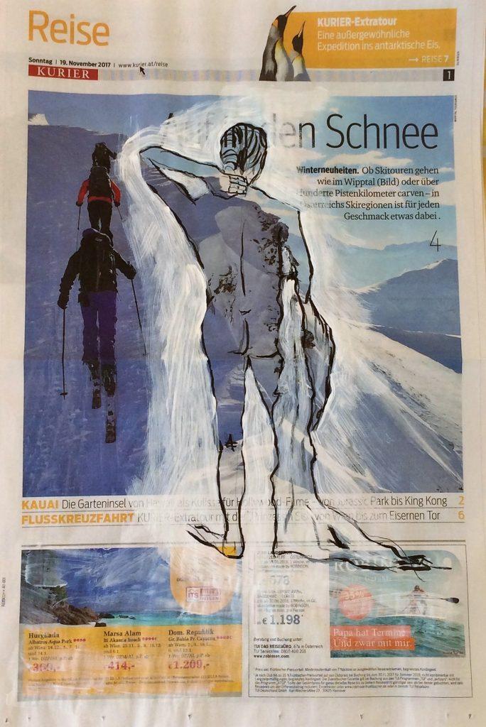 Übermalung Auf in den Schnee 50 x 60 cm,Mischtechnik,2017