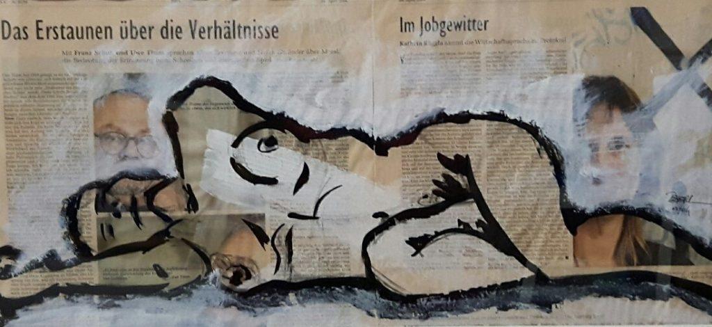Zeitungsübermalung,Mischtechnik,70x50 cm,